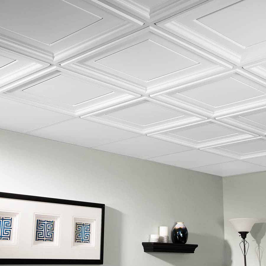 Genesis Ceiling Tile 2x2 Icon Coffer in White