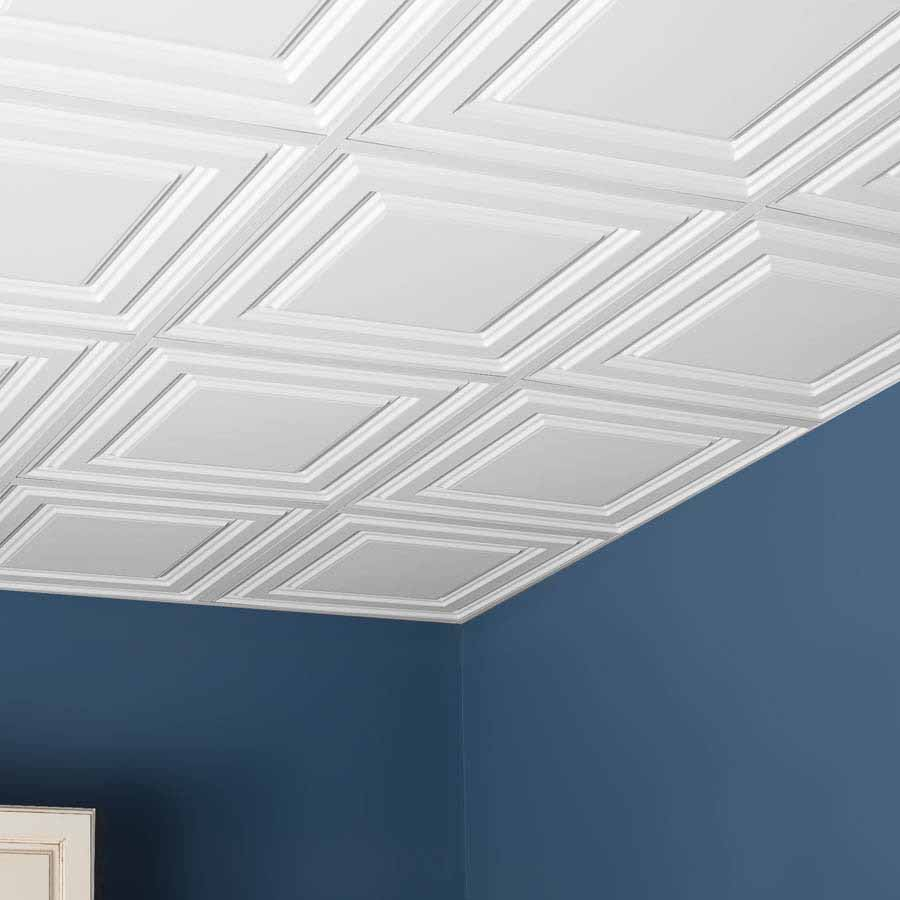 Genesis Ceiling Tile 2x2 Icon Relief in White