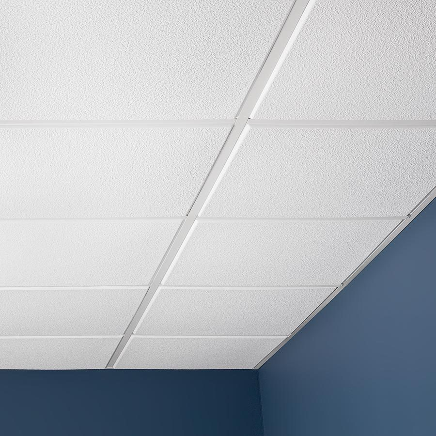 Genesis Ceiling Tile-2x2 Stucco Pro with Revealed Edge in White