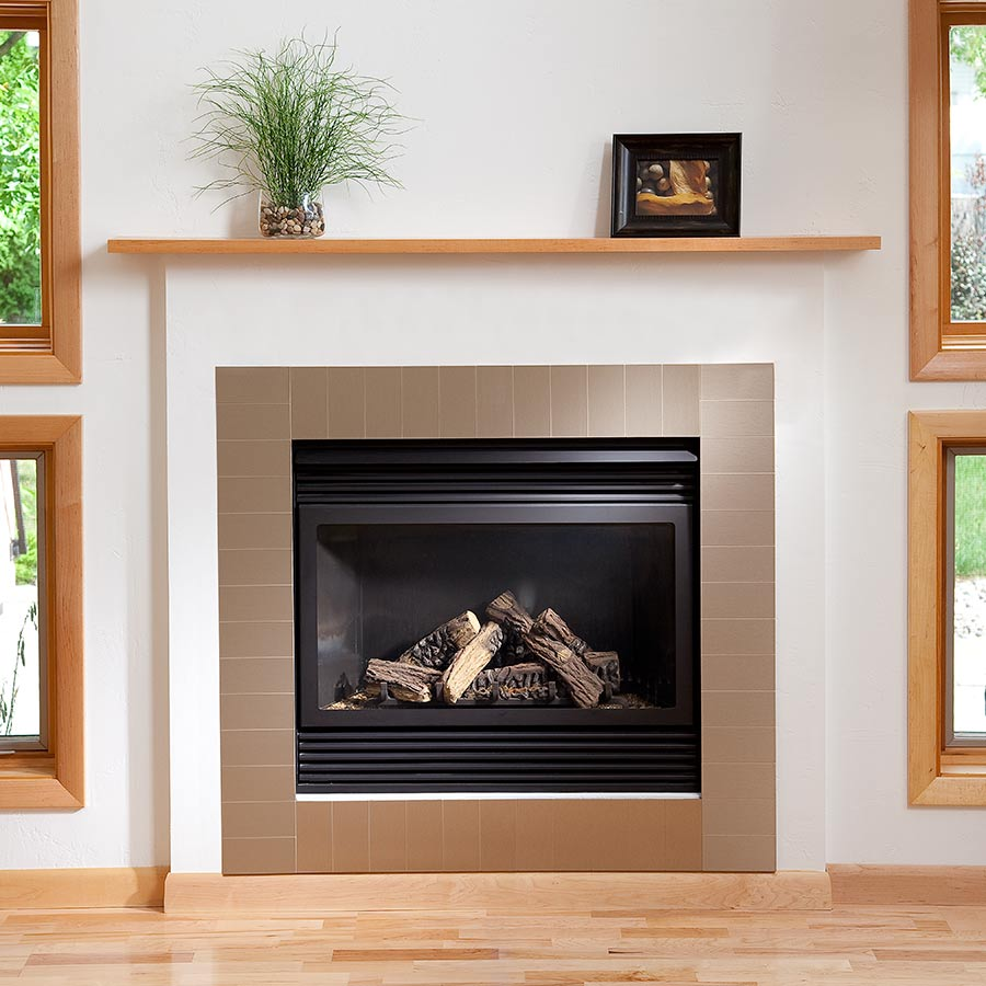 Aspect Metal Tiles on Fireplace