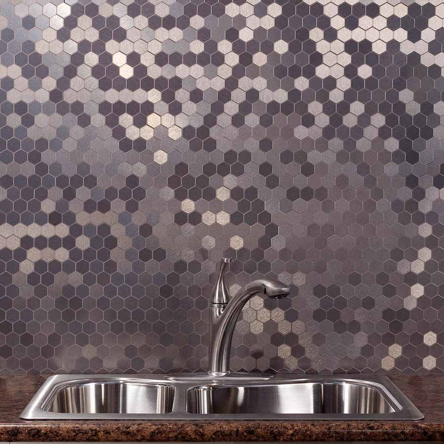 Aspect Backsplash-Honeycomb in Brushed Stainless Matted