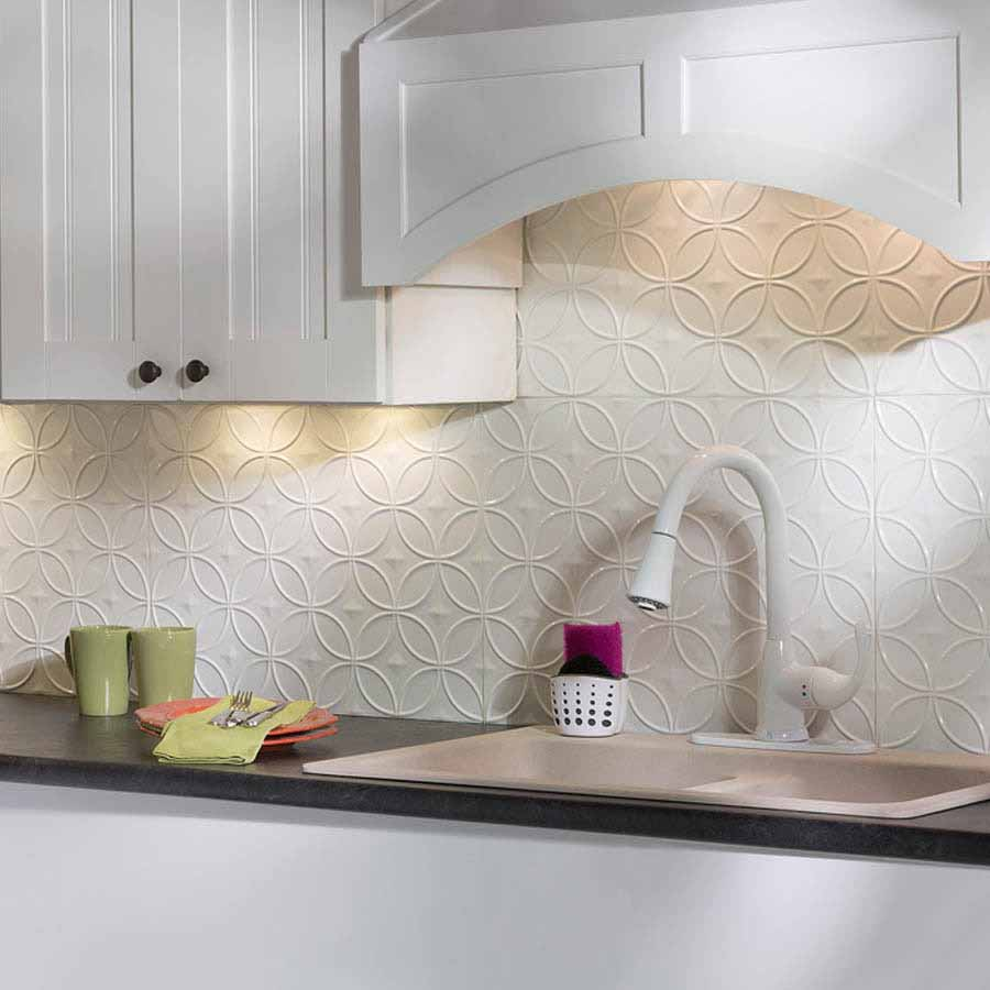Fasade Backsplash - Rings in Gloss White