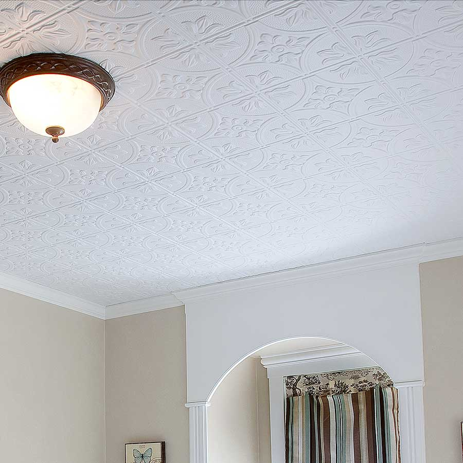 Fasade Ceiling Tile-2x4 Direct Apply-Traditional 2 in Matte White