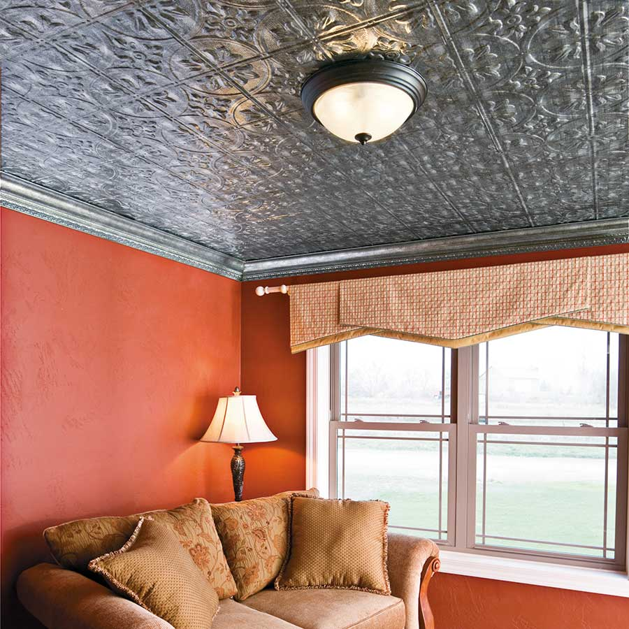 Fasade Ceiling Tile-2x4 Direct Apply-Traditional 2 in Crosshatch Silver