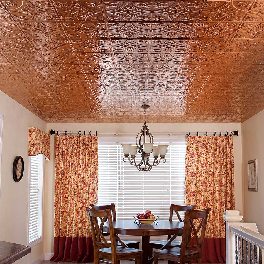 Fasade Ceiling Tile-2x4 Direct Apply-Traditional 2 in Polished Copper