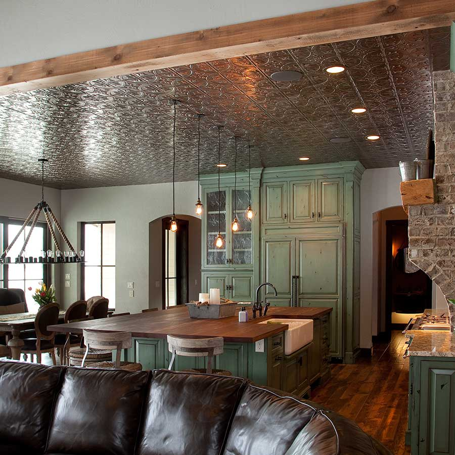Fasade Ceiling Tile-2x4 Direct Apply-Traditional 2 in Brushed Nickel