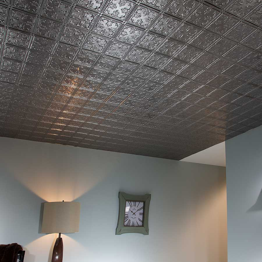 Fasade Ceiling Tile-2x4 Direct Apply-Traditional 10 in Galvanized Steel