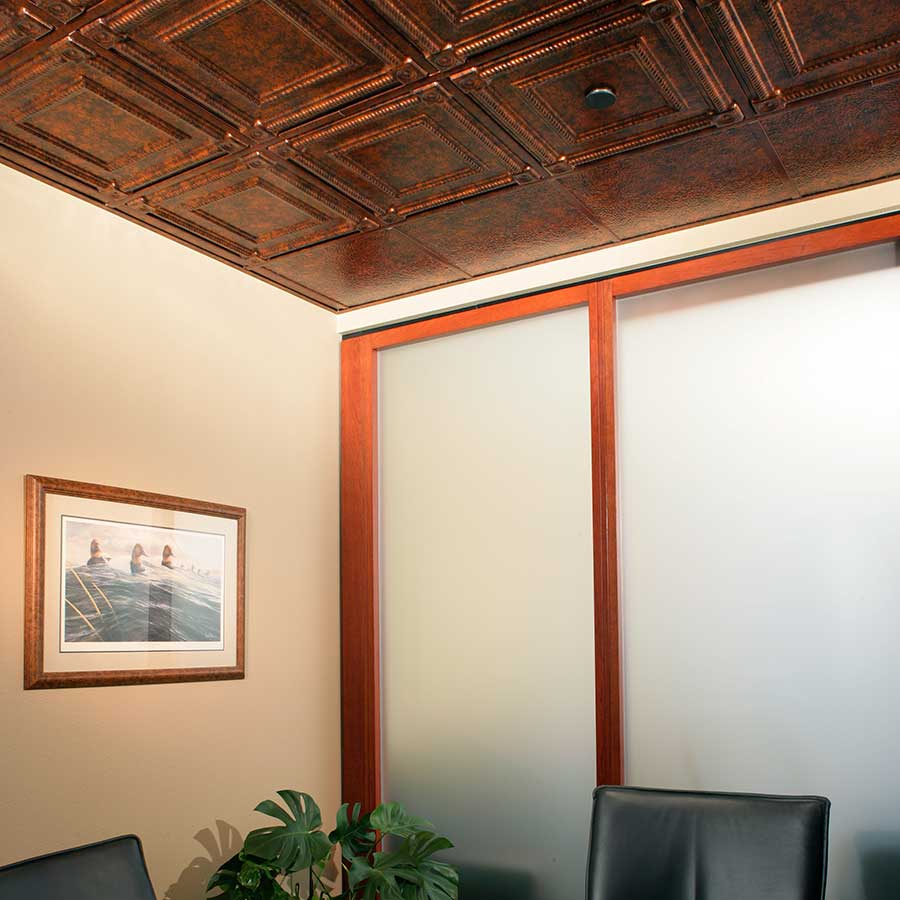 Fasade Ceiling Tile-2x2 Suspended-Coffer in Moonstone Copper