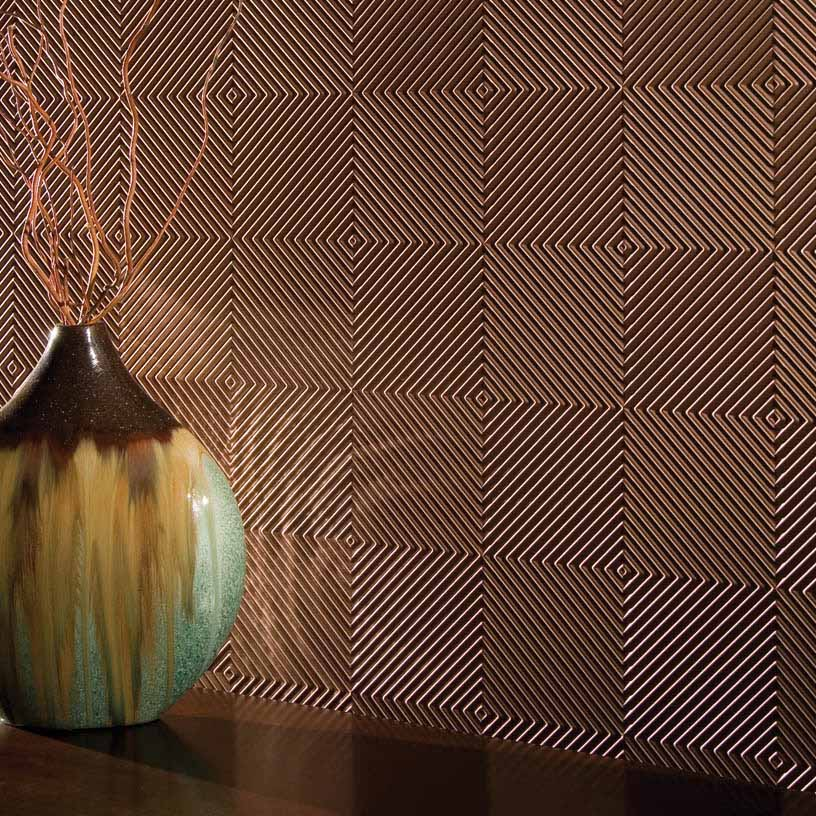 Fasade Wall Panel-Quattro in Polished Copper