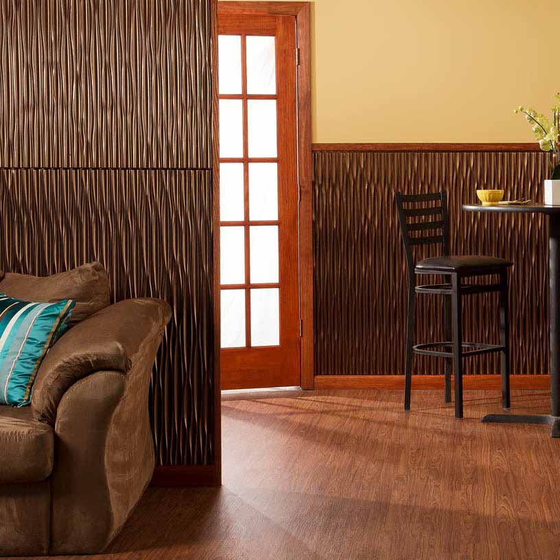 Fasade Wall Panel-Dunes in Oil-Rubbed Bronze Vertical